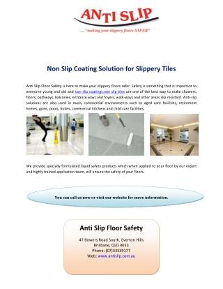 Non Slip Coating Solution for Slippery Tiles
