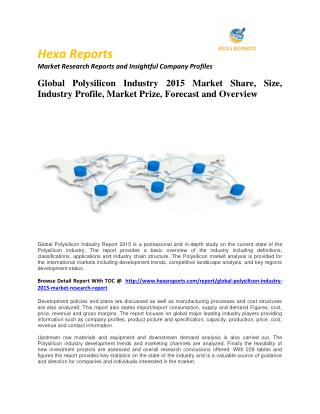 Polysilicon Industry 2015 Market Size, Share, trends and Forecast  2014 – 2020
