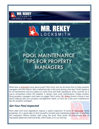 Pool Maintenance Tips for Property Managers by Mr. Rekey Locksmith