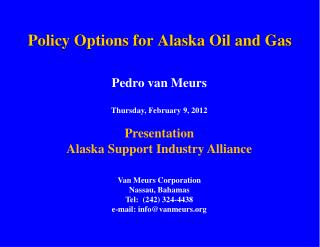 Policy Options for Alaska Oil and Gas