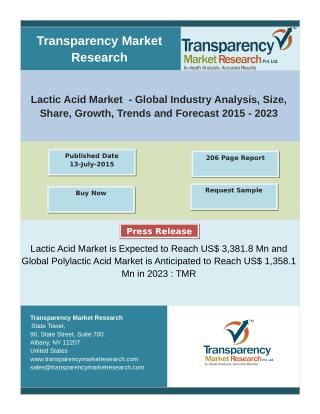 Lactic Acid and Polylactic Acid Market- Global Industry Analysis 2015-2023
