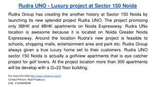 Rudra UNO - Luxury project at Sector 150 Noida