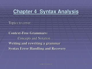 Chapter 4  Syntax Analysis