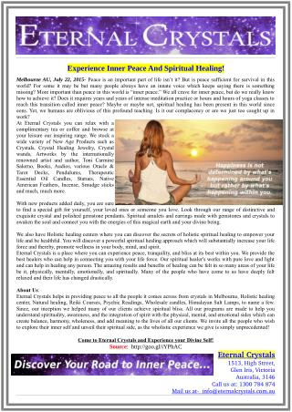 Experience Inner Peace And Spiritual Healing!