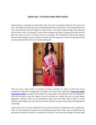Salwar suit  a timeless indian ethic fashion