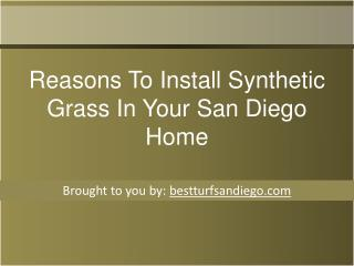 Reasons To Install Synthetic Grass In Your San Diego Home