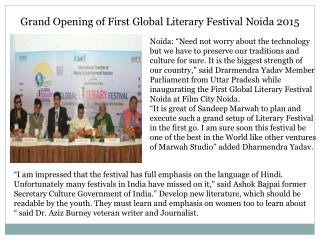 Grand Opening of First Global Literary Festival Noida 2015