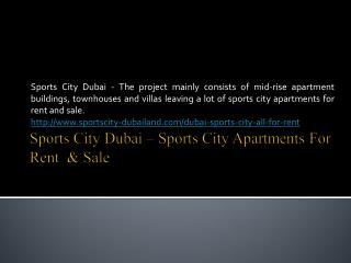 Sports City Dubai - Sports City Apartments for Rent