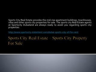 Sports City Real Estate - Sports City Property for Sale