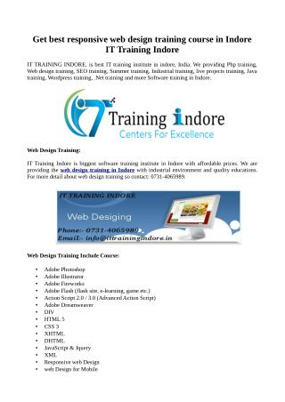 Responsive web design training course in Indore at IT Training Indore