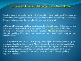Tips on Packing and Moving Into a New Home