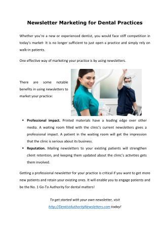 Newsletter Marketing for Dental Practices