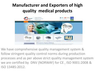 ORIGINAL MEDICAL EQUIPMENT CO.PVT.LTD