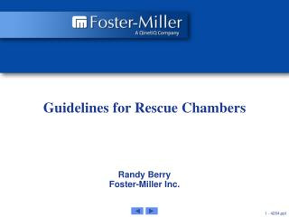 Guidelines for Rescue Chambers