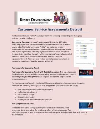 Customer Service Assessments Detroit