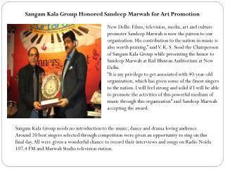 Sangam Kala Group Honored Sandeep Marwah for Art Promotion