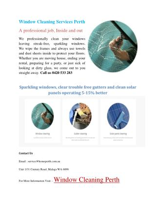 Window Cleaning Services Perth