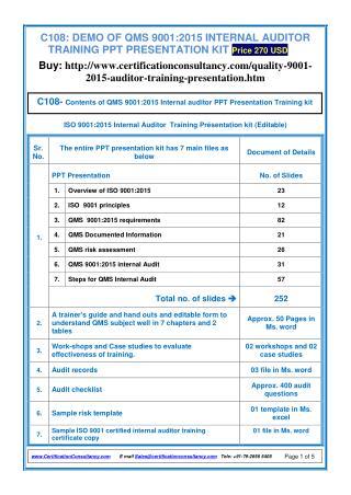 Training Presentation on QMS 9001:2015
