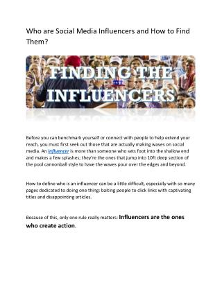 Who Are Social Media Influencers And How To Find Them?