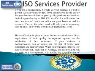 ISO Services Provider