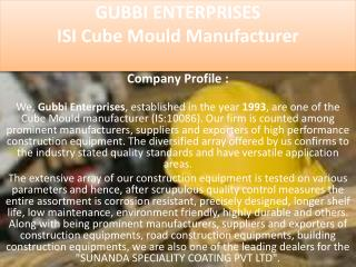 ISI Cube Mould Manufacturer