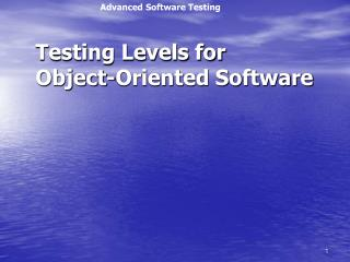 Testing Levels for Object-Oriented Software