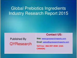 Global Prebiotics Ingredients Market 2015 Industry Analysis, Research, Share, Trends and Growth
