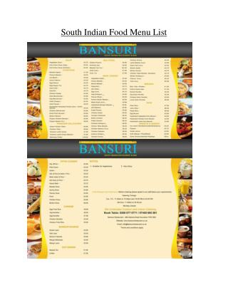 South Indian Food Menu List