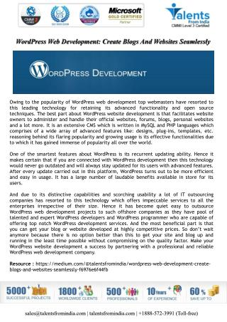 WordPress Web Development: Create Blogs And Websites Seamlessly