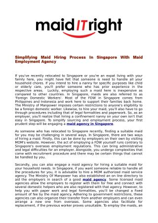 Simplifying Maid Hiring Process In Singapore With Maid Employment Agency
