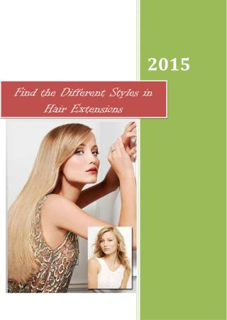 Find the Different Styles in Hair Extensions