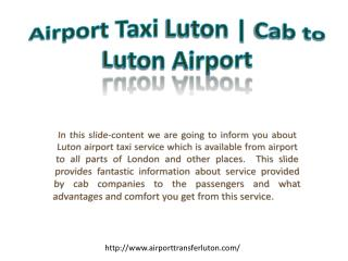 London Luton Airport Transfer | Car Services in Luton Airport