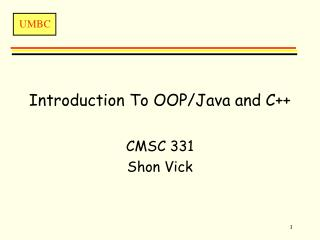Introduction To OOP/Java and C++