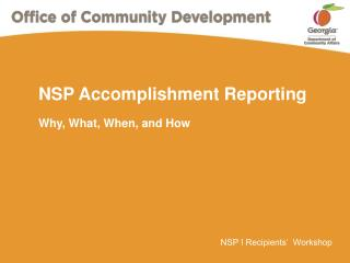 NSP Accomplishment Reporting