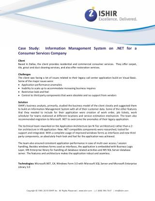 Information Management System on .NET for a Consumer Services Company