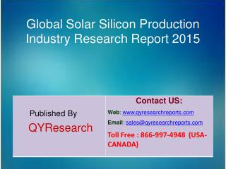 Global Solar Silicon Production Market 2015 Industry Shares, Forecasts, Analysis, Applications, Study, Trends, Developme