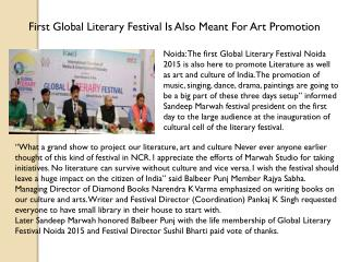 First Global Literary Festival Is Also Meant For Art Promotion