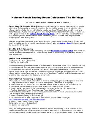 Holman Ranch Tasting Room Celebrates The Holidays
