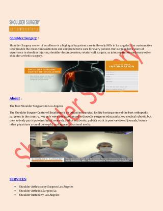 Shoulder Arthritis Surgery