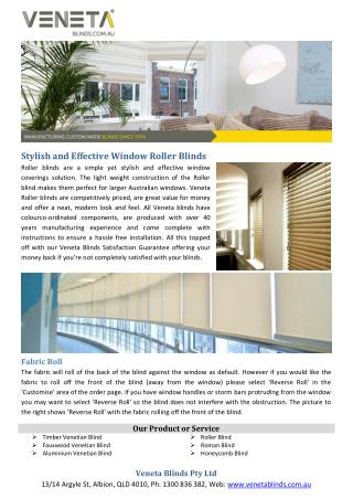 Stylish and Effective Window Roller Blinds