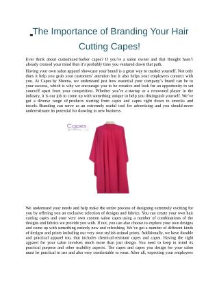The Importance of Branding Your Hair Cutting Capes