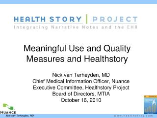 Meaningful Use and Quality Measures and Healthstory