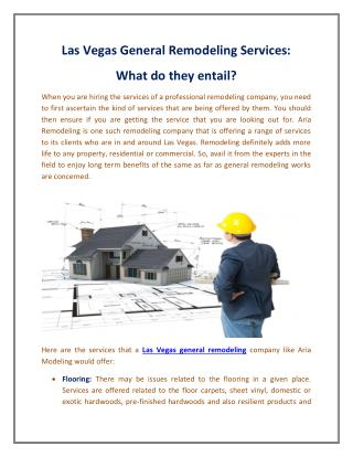 Las Vegas General Remodeling Services: What do they entail?