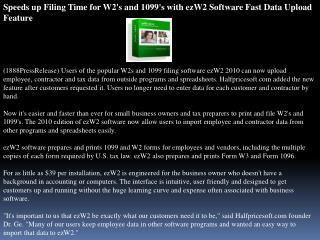 Speeds up Filing Time for W2's and 1099's with ezW2 Software