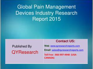 Global Pain Management Devices Market 2015 Industry Growth, Trends, Analysis, Research and Development
