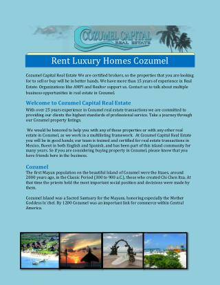 Rent Luxury Homes Cozumel