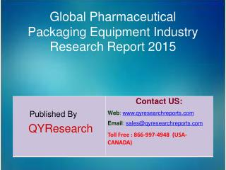 Global Pharmaceutical Packaging Equipment Market 2015 Industry Research, Analysis, Study, Forecasts, Shares, Growth and