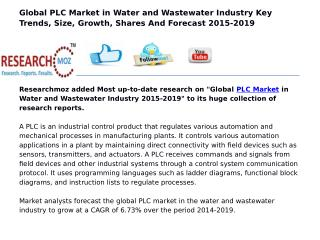 Global PLC Market in Water and Wastewater Industry 2015-2019