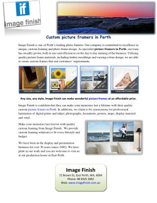 Custom picture framers in Perth