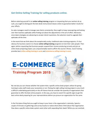 Get Online Selling Training for selling products online